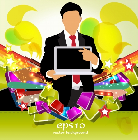 Businessman with laptop  Vector Stock Vector - 22835022
