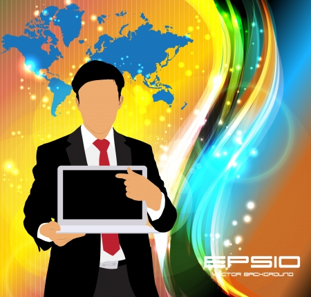 Businessman with laptop  Vector Vector