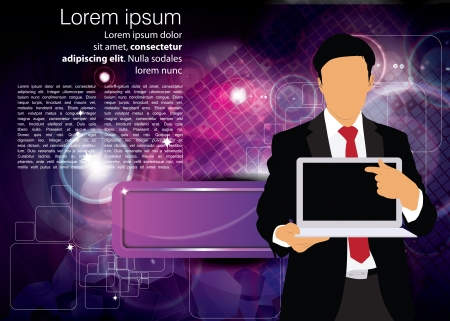 Businessman with computer  Vector Stock Vector - 22835256
