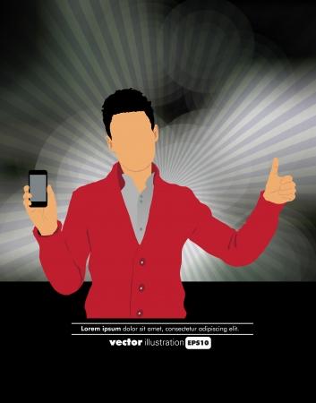 Man using smartphone  Vector Stock Vector - 22835295