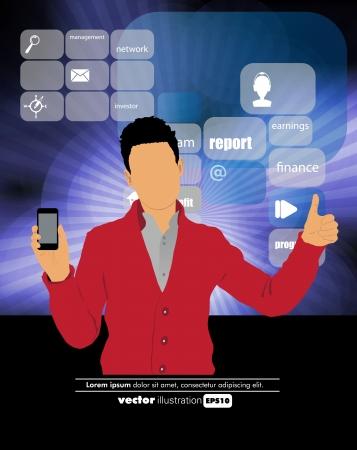 Man using smartphone  Vector Stock Vector - 22835296
