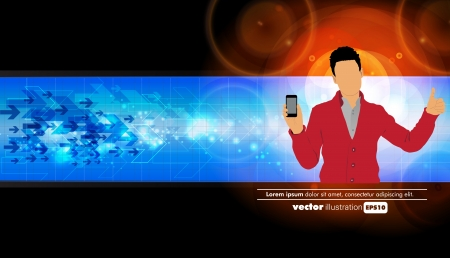 Man using smartphone  Vector Stock Vector - 22835310