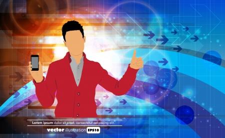 using smartphone: Man using smartphone  Vector Illustration