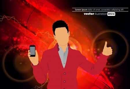 Man using smartphone  Vector Stock Vector - 22835314