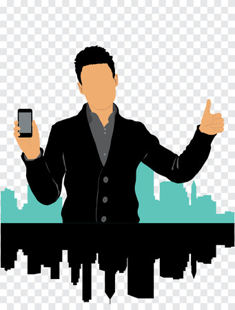 Man using smartphone  Vector Stock Vector - 22835333