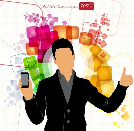 Man using smartphone  Vector Stock Vector - 22835341