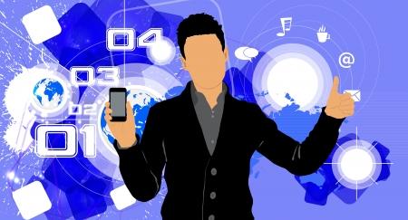 Man using smartphone  Vector Stock Vector - 22835364