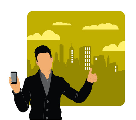 Man using smartphone  Vector Stock Vector - 22835369