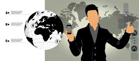 Man using smartphone  Vector Illustration