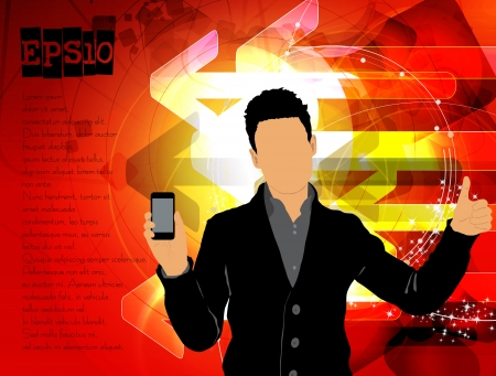 Man using smartphone  Vector Stock Vector - 23014652