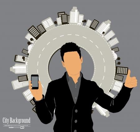 Man using smartphone  Vector Stock Vector - 23014726