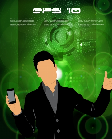 Man using smartphone  Vector Stock Vector - 23014736