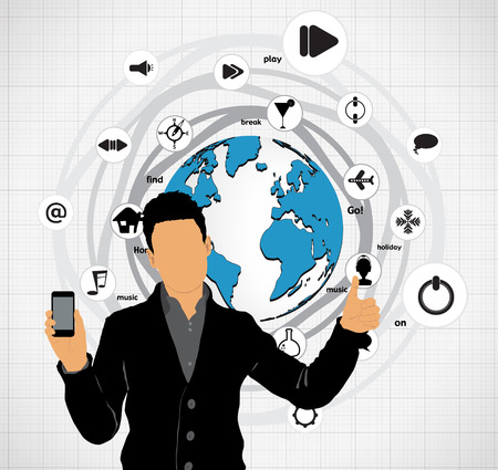 Man using smartphone  Vector  Stock Vector - 23014747