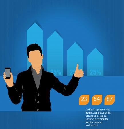 Man using smartphone  Vector Stock Vector - 23014743