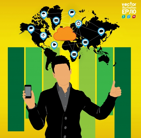 Man using smartphone  Vector Stock Vector - 23014752