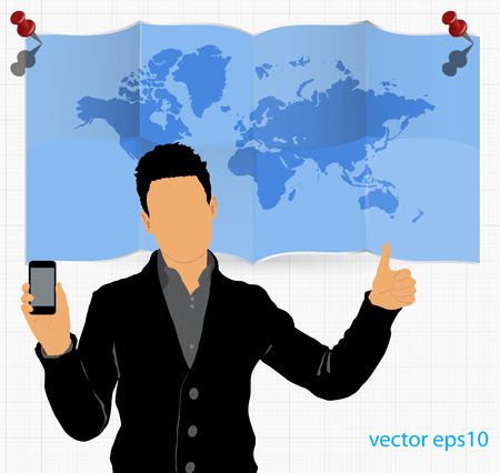 Man using smartphone  Vector Stock Vector - 23014751