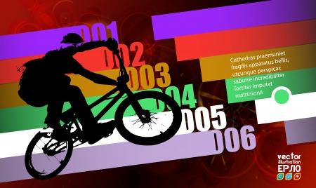 summer tires: Ciclista fondo abstracto, ilustraci�n vectorial