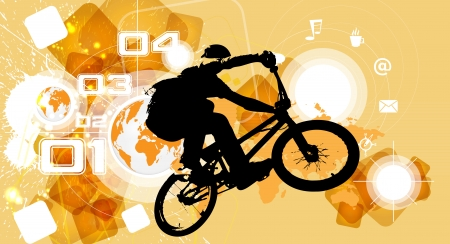 one wheel bike: BMX biker  Vector Illustration