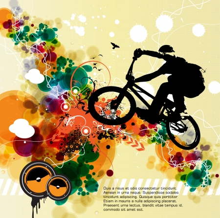 x games: Cyclist abstract background, vector illustration