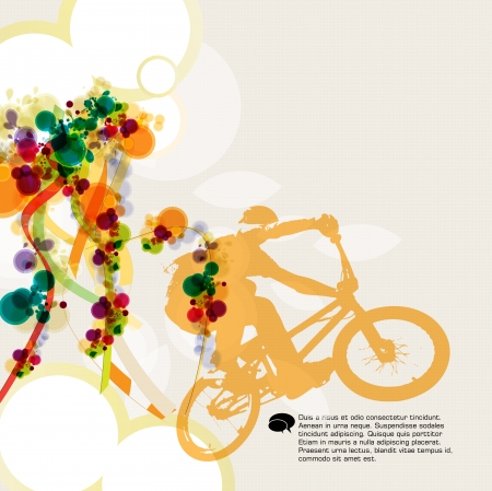 fmx: Cyclist abstract background, vector illustration