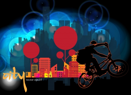 one wheel bike: Vector image of BMX cyclist  Illustration
