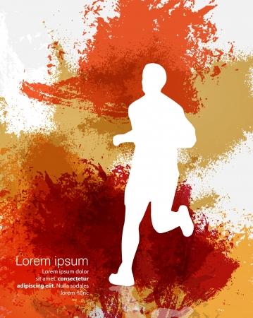 macho man: Marathon  Sport illustration  Vector