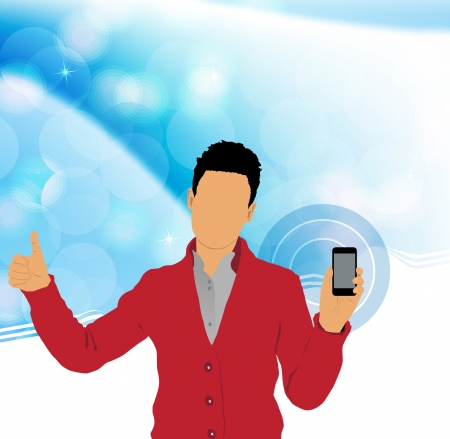 using smartphone: Man using smartphone Stock Photo