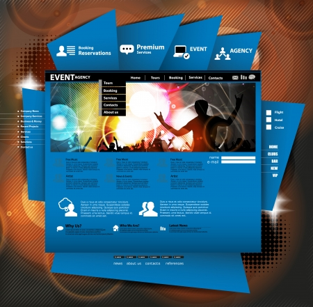 Website layout with music subject  Vector