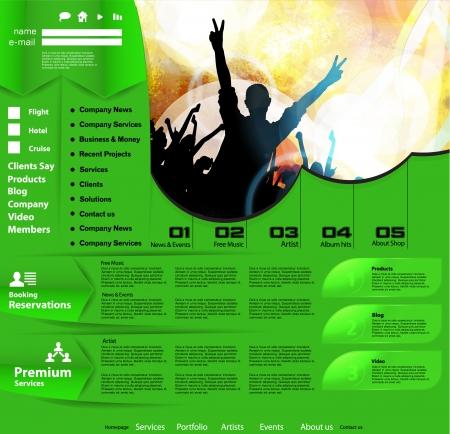 Music Website Template  Vector