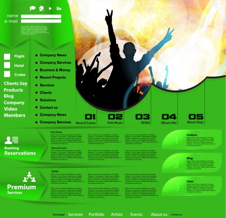 colorful slide: Music Website Template