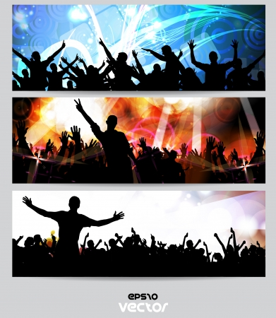 nightclub crowd: Music banners set  Vector Illustration