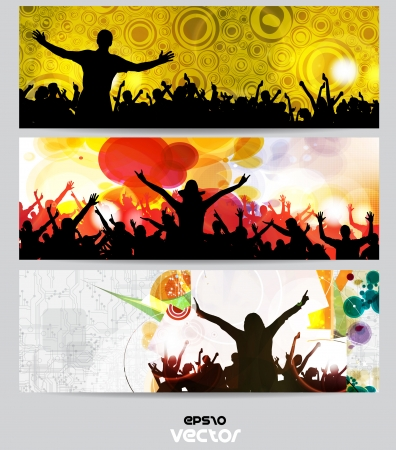 festival crowd: Music banners set  Vector Illustration