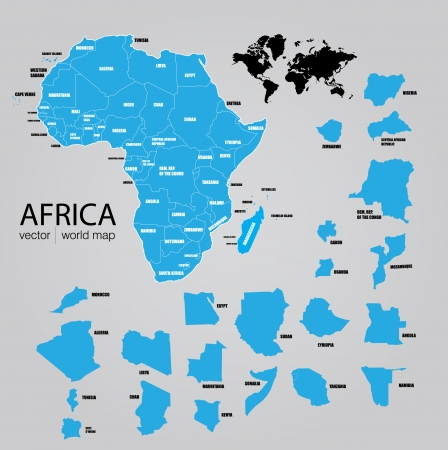 zambia: Map of Africa  Vector Illustration