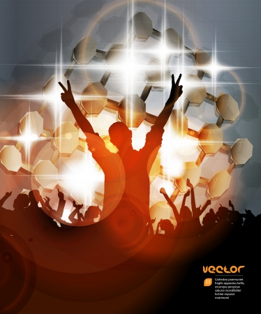 dubstep: Crowd in front of a stage  Vector Illustration