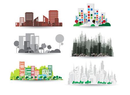 City illustration set  Vector