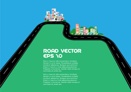 curved road: Vector Illustration of road and city Illustration