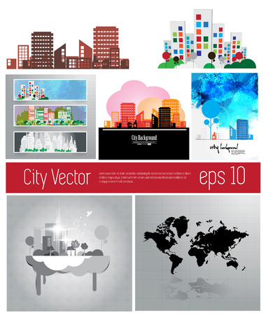 Set of cityscape backgrounds  Vector