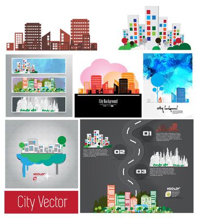 Vector of city skyline set  Vector