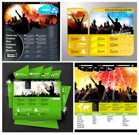 clubing: Set of web design template Illustration