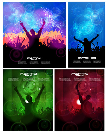 bacground: Big set of concert poster  Vector illustration