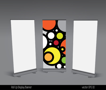 Abstract roll up banner display template for designers, vector eps 10  Illustration