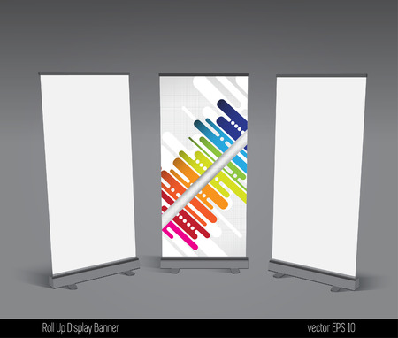 Abstract roll up banner display template for designers, vector eps 10  Vector