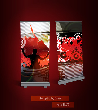 Music party roll up banner, vector
