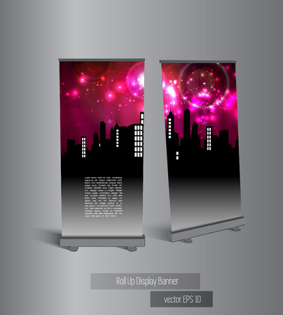 City roll up banner display, vector  Vector