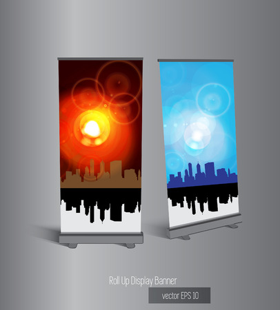 Roll up display banner, vector Vector