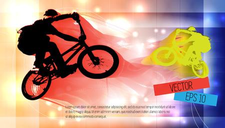 one wheel bike: Vector image of BMX cyclist  Illustration