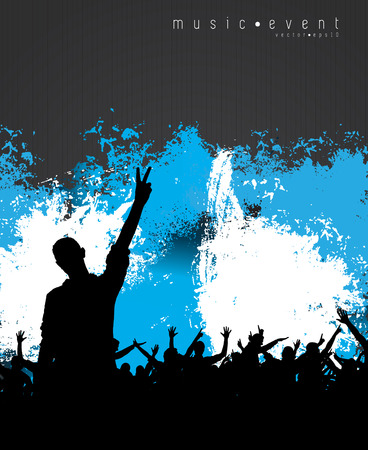 crowd concert: Music event party  Vector