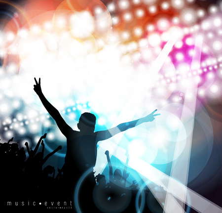 Crowd of people  Concert illustration  Vector