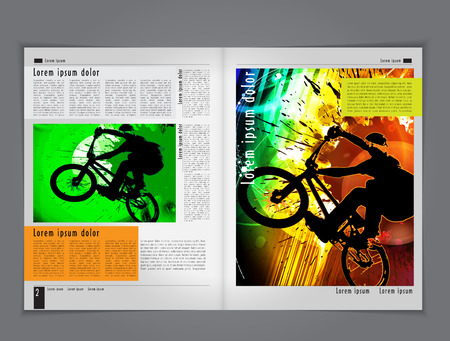 one wheel bike: Vector broshure pages  Template