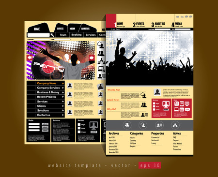 Website design template, music event vector   Vector